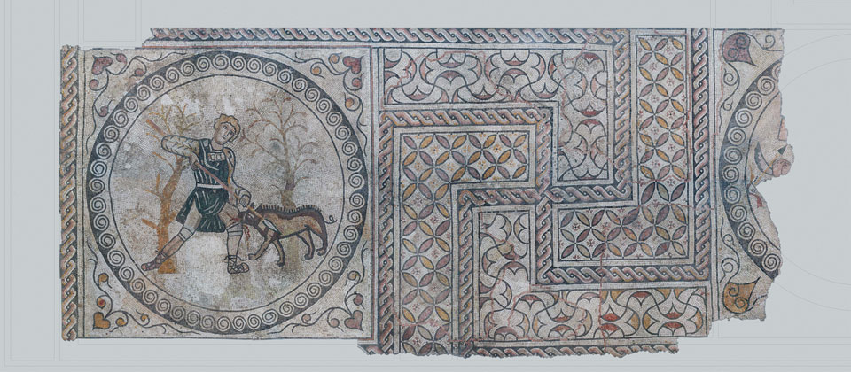 Coloured floor mosaic with hunting scene from piazza Biade (Archive of the Vicenza Natural history and Archaelogical Museum)