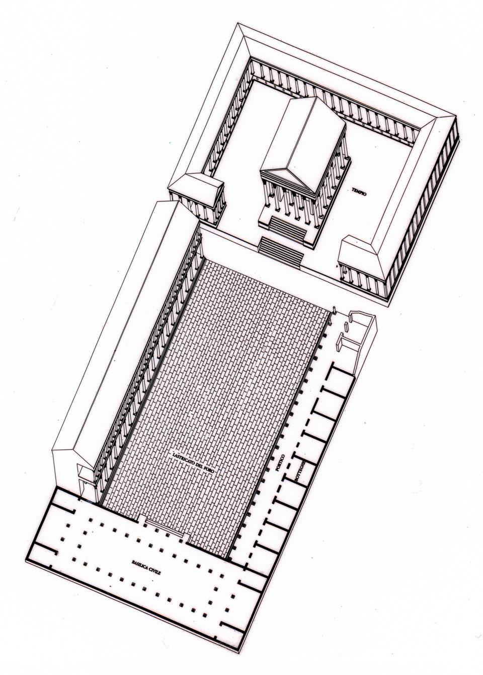 Ipotesi ricostruttiva (Elaborazione grafica di Loretta Zega, Archivio Soprintendenza per i Beni Archeologici del Veneto)