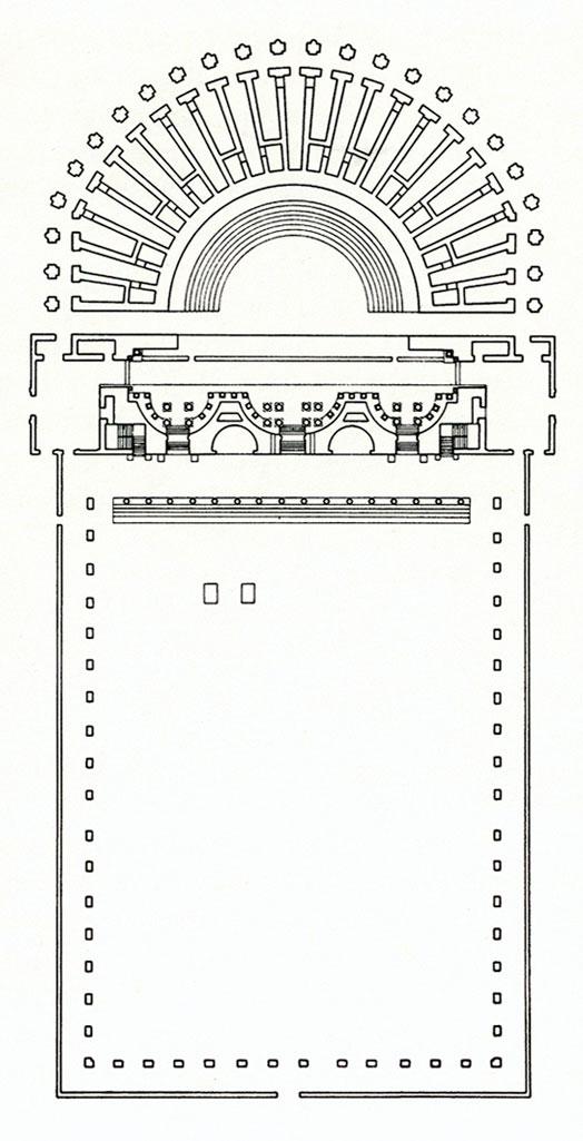 Planimetria ricostruttiva (Disegno di David Hosking, Archivio Soprintendenza per i Beni Archeologici del Veneto)