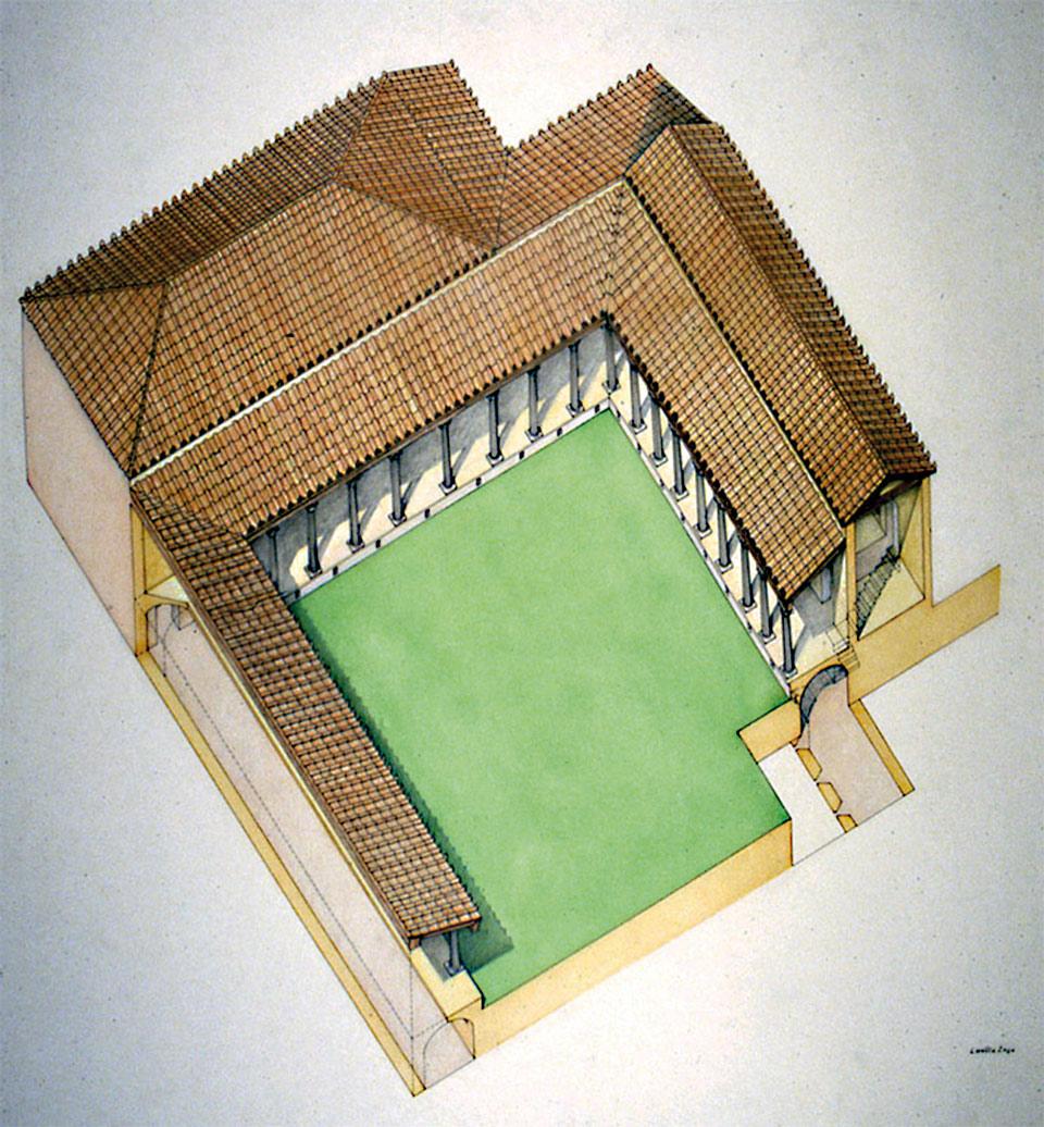 Ipotesi ricostruttiva del complesso (Elaborazione grafica di Loretta Zega, Archivio Soprintendenza per i Beni Archeologici del Veneto)